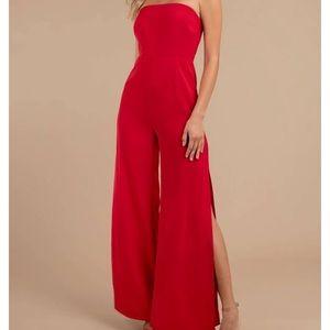 Tobi Strapless Red Jumpsuit